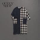 Queen Shop【01084376】女裝 親子系列撞色格紋腰綁帶棉麻洋裝*現+預*