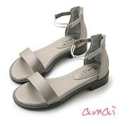 amai個性金屬環一字低跟涼鞋 古銅銀