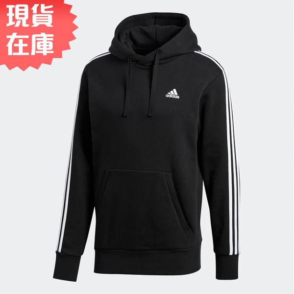 Adidas ESSENTIALS 3SSTRIPES 男裝 上衣 連帽 帽T 棉質 黑 【運動世界】 BR3588