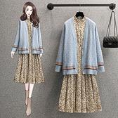 L-4XL大碼洋裝套裝兩件套~大碼女裝長袖毛衣開衫外套裝碎花連身裙4F056愛尚布衣