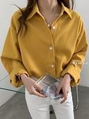 月牙城翻領單排扣襯衫女早春2021新款設計感韓版寬鬆長袖襯衣外套 韓國時尚週