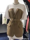 韓國東大門春夏新款女裝個性設計感假兩件套短袖T恤洋裝潮 「雙12購物節」