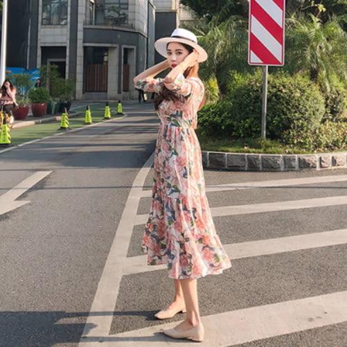 梨卡★現貨 - 夏日甜美沙灘花朵印花雪紡連身裙連身長裙沙灘裙洋裝C6262