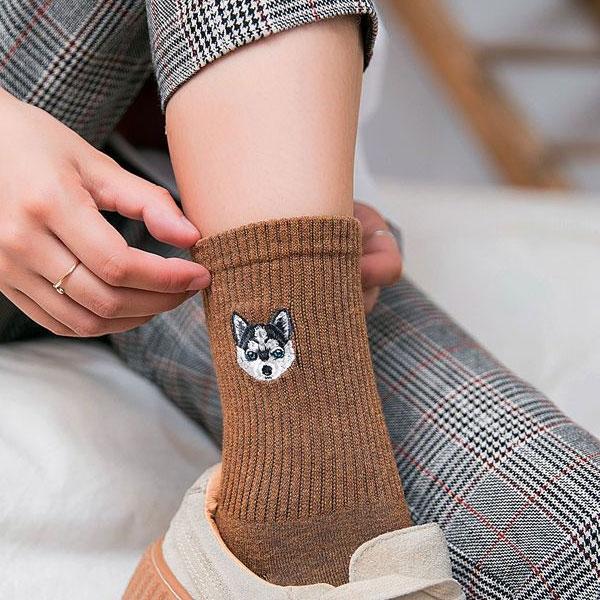 [現貨]刺繡狗狗 中筒襪 襪子 純棉襪 長筒襪 短襪 韓風 文青 超彈性 M1007