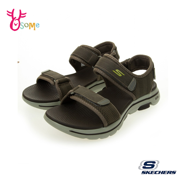 Skechers涼鞋 男涼鞋 運動涼鞋 GO WALK 5 健走涼鞋 一體成型 柔軟Q彈 記憶鞋墊 W8203#灰色◆奧森