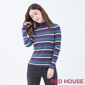 【RED HOUSE 蕾赫斯】條紋高領針織衫(共2色)
