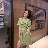 VK精品服飾 韓系時尚字母斜肩綁帶短袖顯瘦T恤短袖洋裝