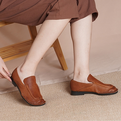 真皮手工女鞋 圓頭休閒鞋 套腳平底鞋/2色-夢想家-標準碼-0401