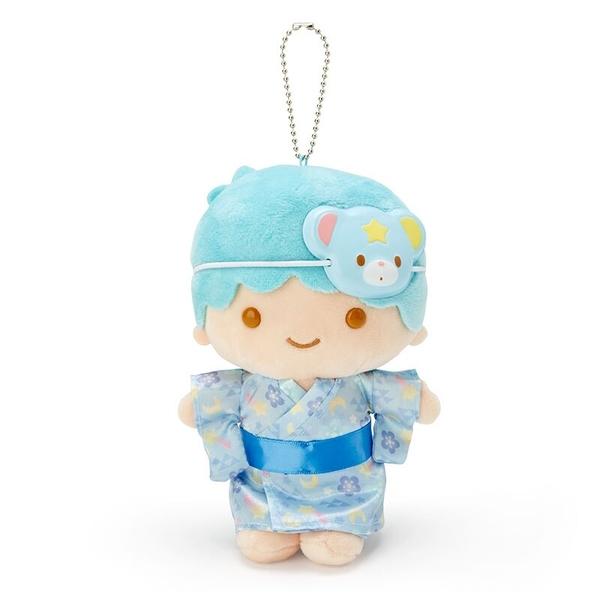 小禮堂 雙子星KIKI 絨毛吊飾 玩偶吊飾 玩偶鑰匙圈 (藍 夏日祭典) 4550337-50324