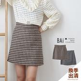 褲裙 千鳥格紋混金蔥毛料後拉鍊短裙M-L號-BAi白媽媽【301940】