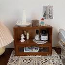 收納柜復古深木化妝品收納小柜子首飾置物架實木柜中古 快速出貨