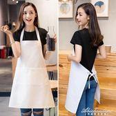 白色圍裙廚房圍裙時尚定制LOGO做飯廚房純棉圍裙 黛尼時尚精品