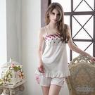 【中大尺碼】甜美刺繡奶白上衣短褲組柔緞情趣性感睡衣 星光密碼B101