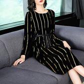 名媛風 絲絨金蔥直條紋洋裝-中大尺碼 獨具衣格