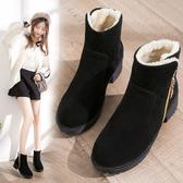雪靴 棉鞋女冬季2020新款韓版百搭平底棉靴女士粗跟短靴加絨保暖雪地靴