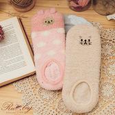 襪子 刺繡動物圖案半邊絨短襪-Ruby s 露比午茶