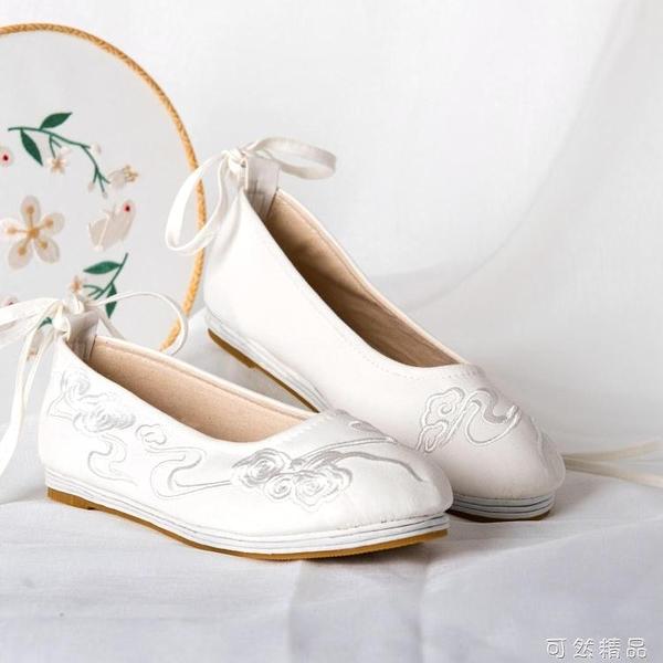 漢服古風布鞋原創漢元素茶藝日常百搭繡花鞋女民族風千層底白鞋 可然精品