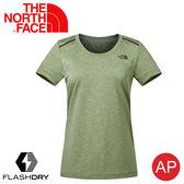 【The North Face 女 排汗短袖T恤《四葉草綠》】3CHZ/FlashDry/吸濕排汗/運動衣/圓領/休閒衣