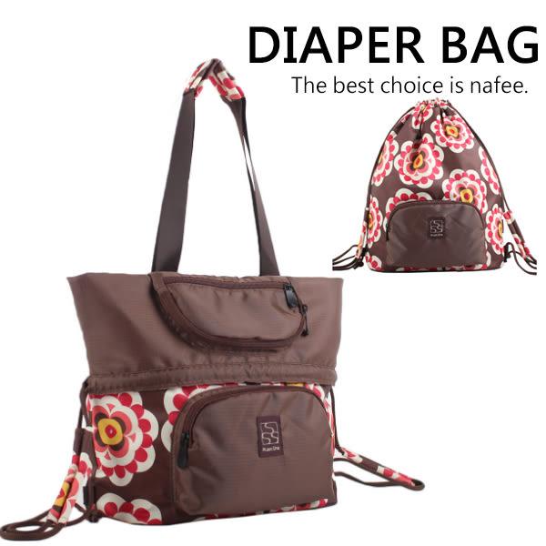 媽媽包 咖啡色款反摺兩用時尚大容量可折疊側背肩背媽咪包 運動包 海灘包 健身房 旅行袋 可變型