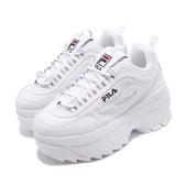 Fila 鋸齒鞋 Disruptor II Wedge 白 藍 女鞋 運動鞋 老爹鞋 韓系 【PUMP306】 5C950T125
