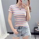95%棉短袖t恤女春裝2021新款彩虹條紋打底衫內搭夏季短款修身上衣 快速出貨
