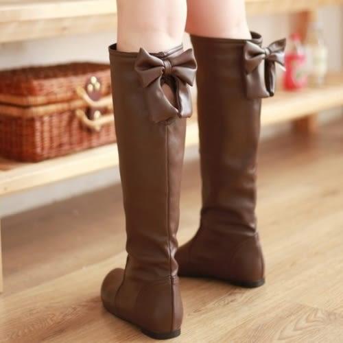 百搭拼接後蝴蝶結內增高長靴