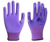 勞保手套 紅宇l309紫色舒適柔軟防滑耐磨透氣乳膠發泡勞保手套 伊芙莎