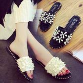 新款平底涼拖鞋女時尚外穿百搭外出韓版花朵平跟一字拖鞋