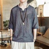 夏季短袖T恤男中國風打底衫亞麻V領體恤寬鬆大碼上衣棉麻印花漢服