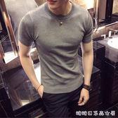 春夏季短袖T恤男韓版修身潮流薄款純色緊身男裝半袖針織打底衫 糖糖日系森女屋