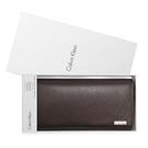 Calvin Klein經典LOGO鐵牌RFID防盜多卡長夾禮盒(深咖色)103047-1
