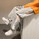 休閒褲 運動褲(男)撞色字母褲子男韓版潮流ins情侶運動褲寬鬆抽繩束腳休閒褲男