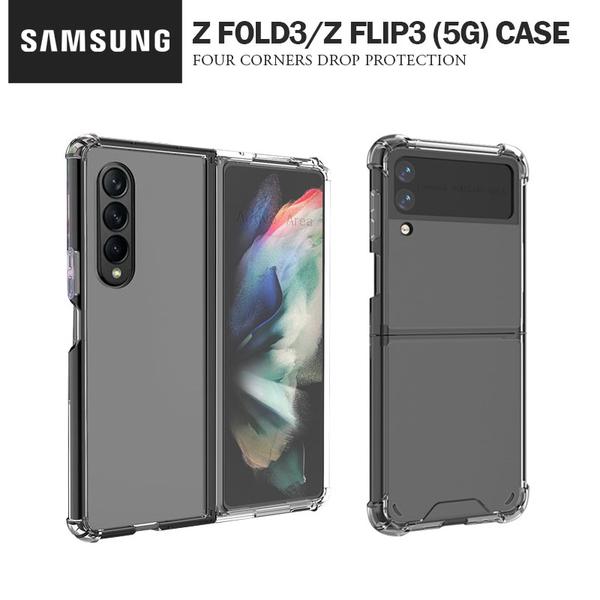 三星Galaxy Z Fold3/Z Flip3 (5G) 手機殼TPU+PC全透明 折疊機保護套 兩節式摺疊機防摔殼