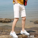 夏季破洞五分牛仔短褲男士白色休閒韓版潮流彈力修身直筒中褲馬褲 3C優購