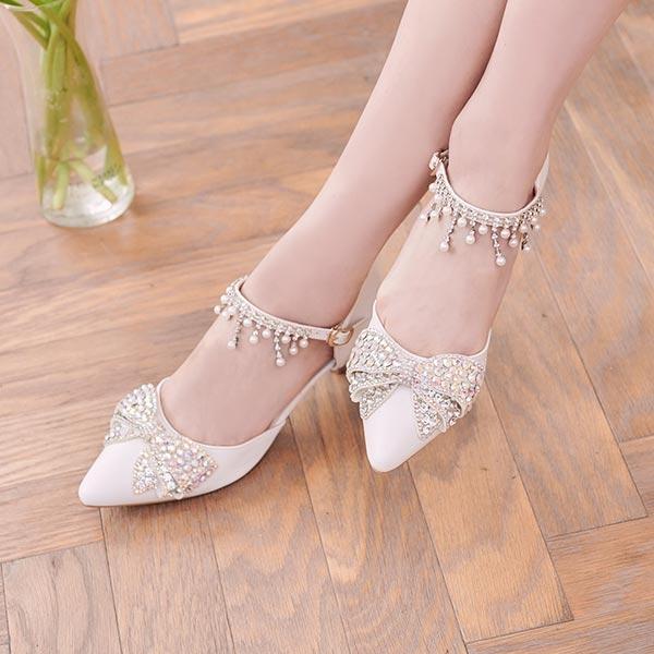 鞋子 珍珠水鑽蝴蝶結流蘇繫踝中跟鞋-Ruby s 露比午茶