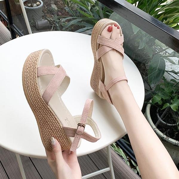 坡跟涼鞋女粗跟夏季2020新款韓版性感一字帶羅馬厚底防水臺高跟鞋13
