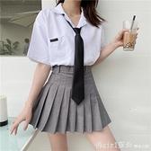 短袖裙裝 領帶白襯衫女夏學院風設計感小眾日系短袖寬鬆上衣jk制服裙兩件套 開春特惠