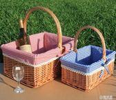 藤柳編野餐籃 手提籃 購物籃 戶外 花籃 禮品包裝籃 水果籃子  ATF