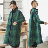 襯衫-亞麻格子棉衣中長版/設計家 M1204