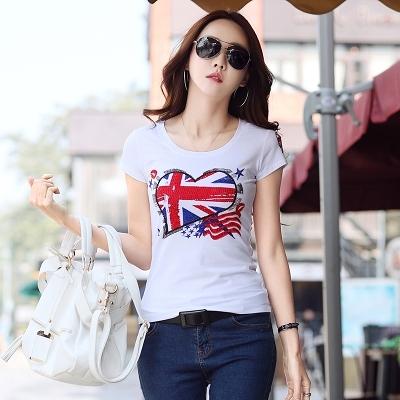 韓版T恤 修身顯瘦上衣964歐貨半袖燙鉆體恤夏季白色大碼短袖t恤女純棉上衣FFA040B依佳衣
