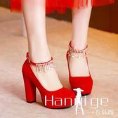 中式婚鞋女新款紅色高跟鞋粗跟新娘鞋大碼結婚紅鞋孕婦敬酒鞋 衣涵閣