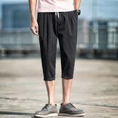 夏季寬鬆七分褲男士韓版潮流休閒小腳褲亞麻百搭哈倫7分短褲子 溫暖享家