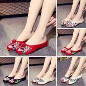 新款夏老北京繡花布鞋包頭居家半拖鞋女民族風外穿時尚涼拖鞋 薔薇時尚