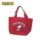 【日本正版】史努比 棉質 手提袋 便當袋 Snoopy PEANUTS - 075142