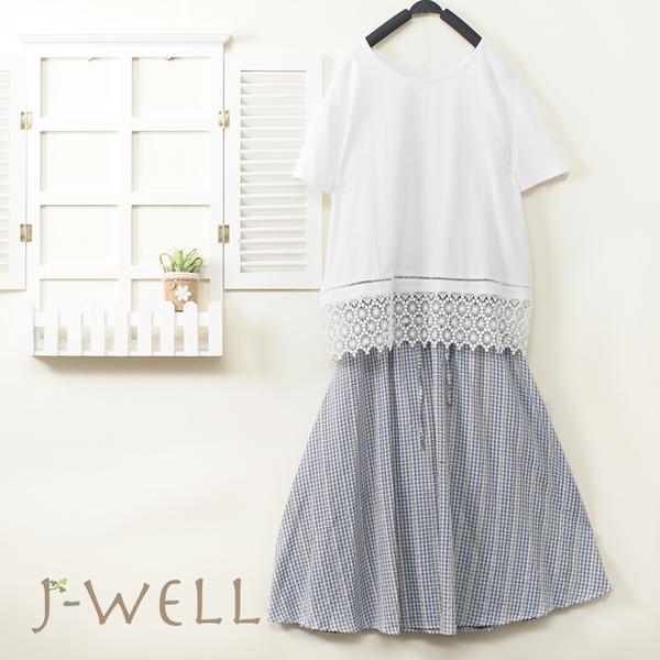 J-WELL 下擺蕾絲短袖上衣格裙二件組(組合A342 8J1609白+8J1592藍格)