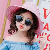 遮陽帽防曬帽女童帽子沙灘帽寶寶空頂帽女童太陽帽兒童涼帽 K-shoes