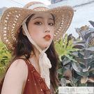 韓版可折疊夏季甜美蕾絲繫帶大檐草帽女防曬沙灘度假太陽帽遮陽帽 韓慕精品