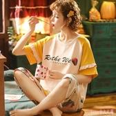 夏季棉質兩件套睡衣女薄款短袖七分褲大碼寬鬆胖mm休閒卡通家居服 LF6008【Rose中大尺碼】