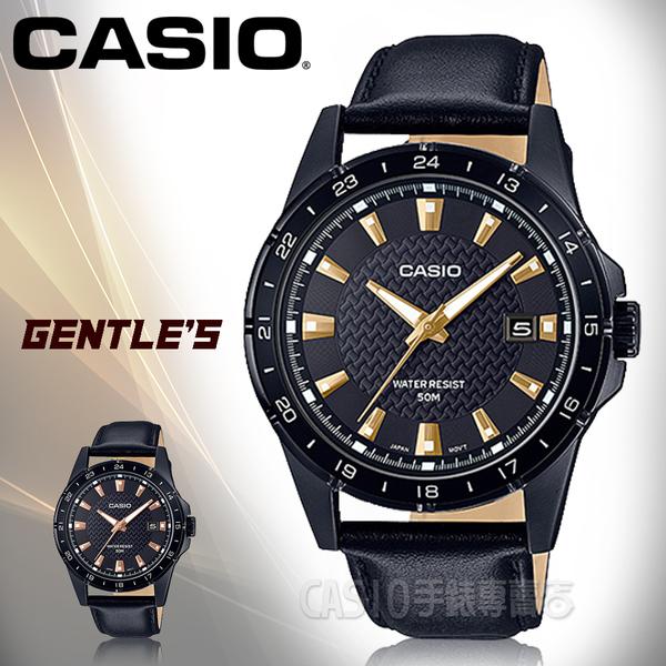CASIO手錶專賣店 MTP-1290BL-1A1 時尚指針男錶 皮革錶帶 黑X金 日期顯示 防水50米 MTP-1290BL