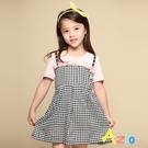 Azio 女童 洋裝 假兩件露肩造型吊帶細格短袖洋裝(粉) Azio Kids 美國派 童裝